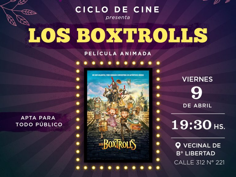 "El film ""Los boxtrolls"" se presentará en la vecinal de B° Libertad"