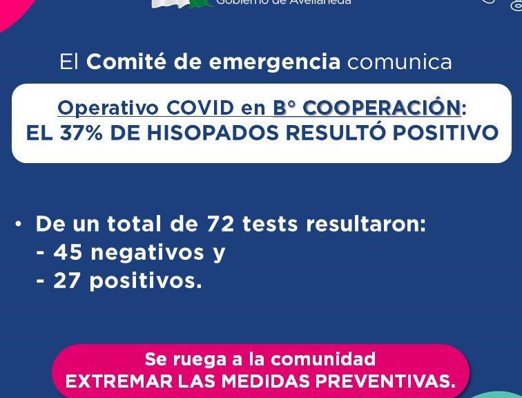 Operativo COVID en B° Cooperación: el 37% de los hisopados resultaron positivos