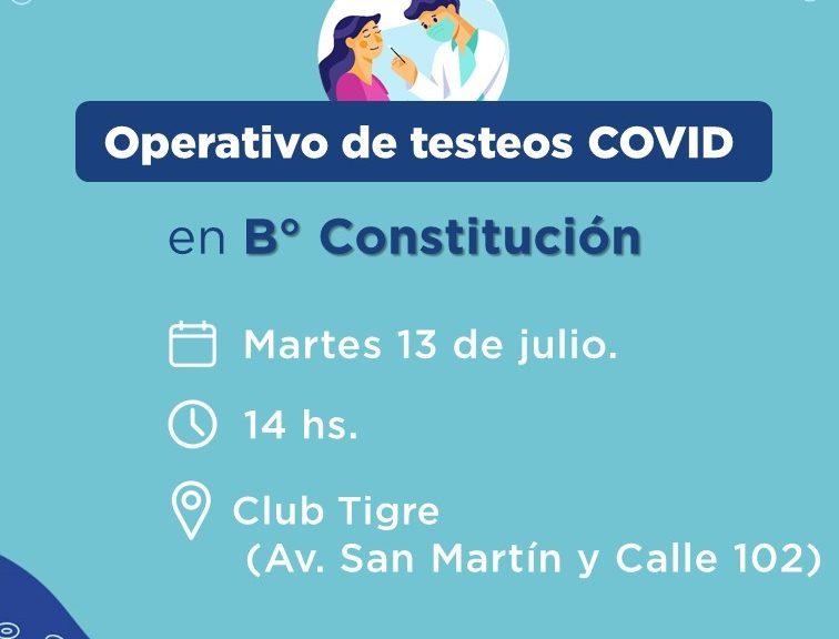 COVID: Hoy, habrá testeos en B° Constitución de Avellaneda