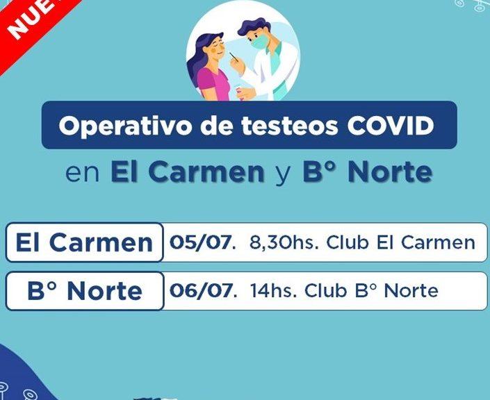 COVID: Habrá nuevos operativos de testeos en paraje El Carmen y en B° Norte de Avellaneda