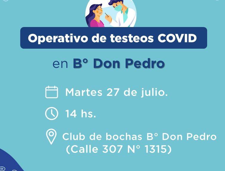 COVID: Habrá testeos en B° Don Pedro la semana próxima