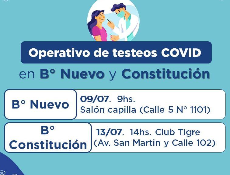 COVID: Habrá nuevos operativos de testeos en B° Nuevo y Constitución de Avellaneda