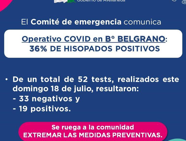 Resultados del Operativo de testeos COVID realizado este domingo 18/7 en el CCI de B° Belgrano.