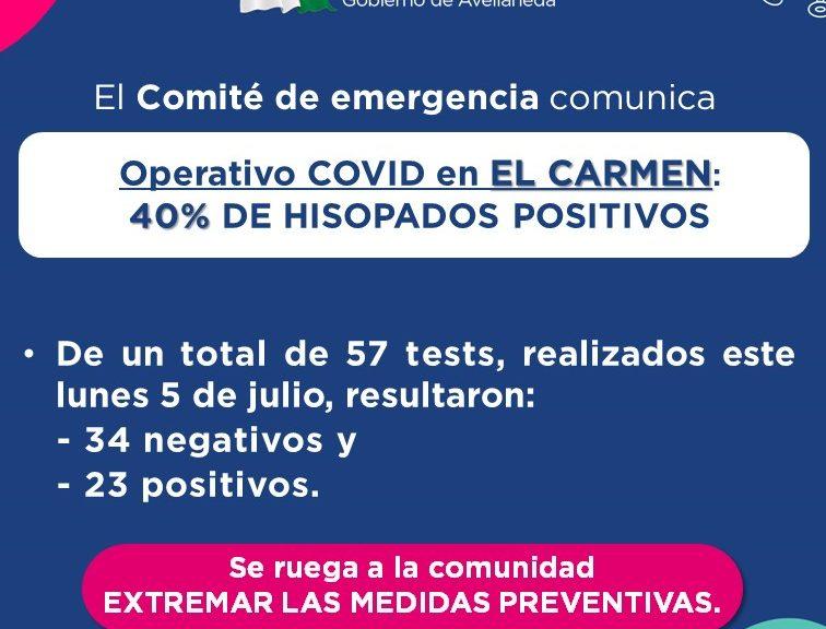 COVID: Resultados del nuevo operativo de testeos en El Carmen