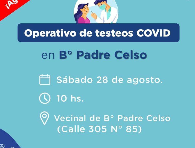 COVID: Nuevo operativo de testeos en B° Padre Celso