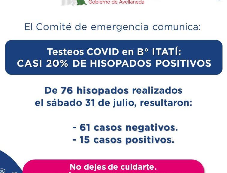 Casi un 20% de casos positivos de COVID en el operativo en B° Itatí
