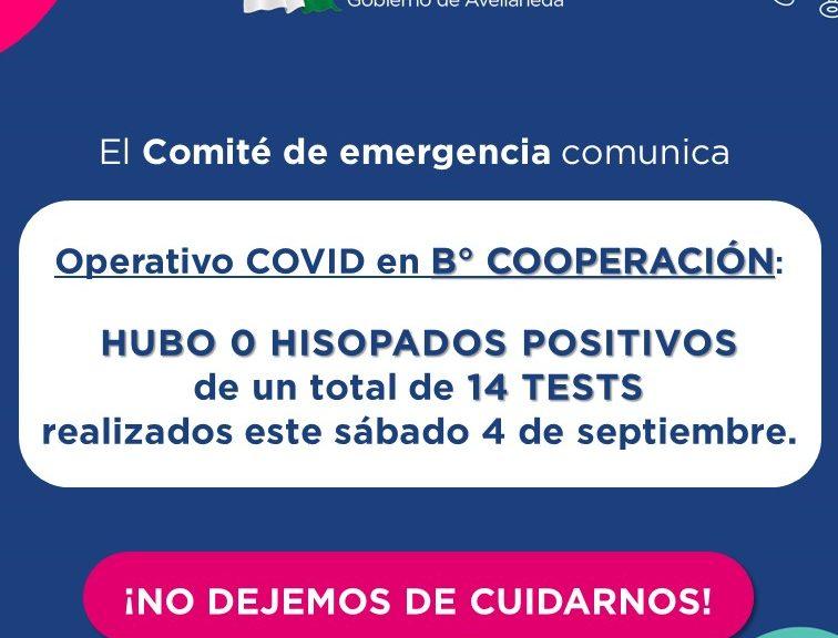 Hubo cero casos positivos en el Operativo de testeos COVID en B° Cooperación