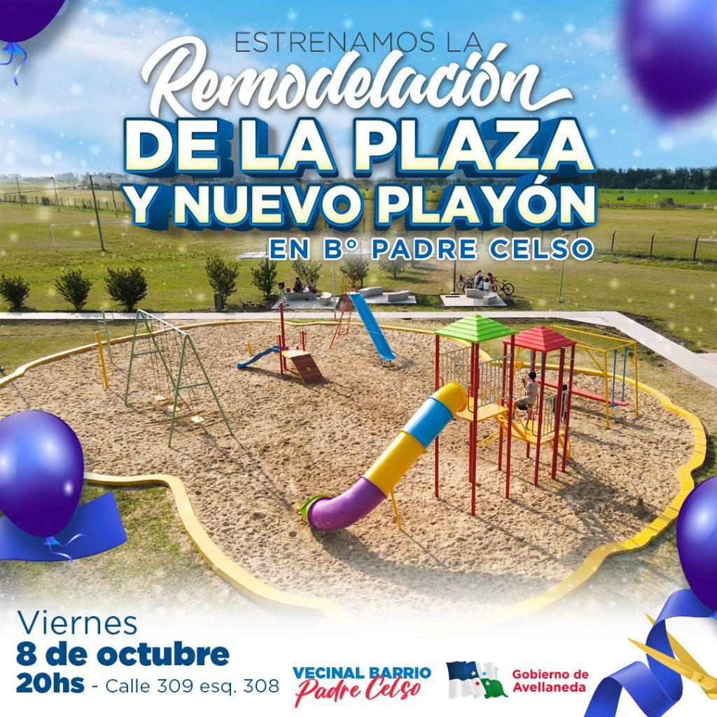 Avellaneda estrena la renovada plaza y nuevo playón en B° Padre Celso