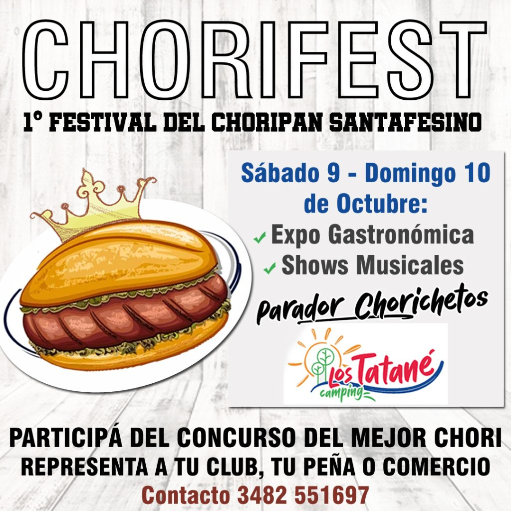 "Tendrá lugar ""Chorifest"", primer festival del choripán santafesino en el Camping municipal Los Tatané"